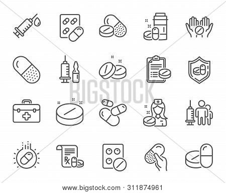 Medical Drugs Line Icons. Healthcare, Prescription And Pill Signs. Pharmacy Drugs, Medical Nurse, Re