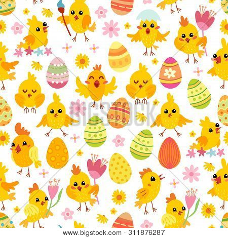 Easter Eggs And Chickens Seamless Pattern. Holiday Vintage Background