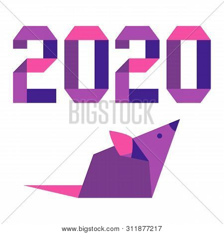 Happy New Year. Vector Illustration With Origami 2020 Year Numbers And Rat. Rat Zodiac Sign, Symbol