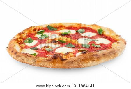 Pizza Margherita On White Isolated Background. Pizza Margarita With Tomatoes, Basil And Mozzarella C