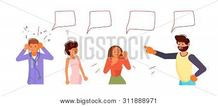 Angry Man Screams And Criticizes Frightened By His Swearing People. Empty Speech Bubbles Above. Flat