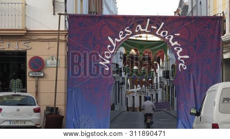 Alora, Spain = June 29, 2019: Arabian Nights Fiesta Decorations And Displays In Andalusian Village
