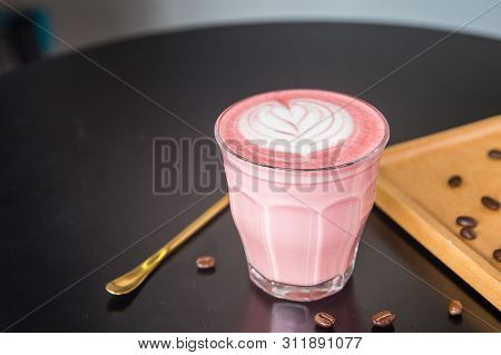 Red Velvet Latte In A Clean Small Cup