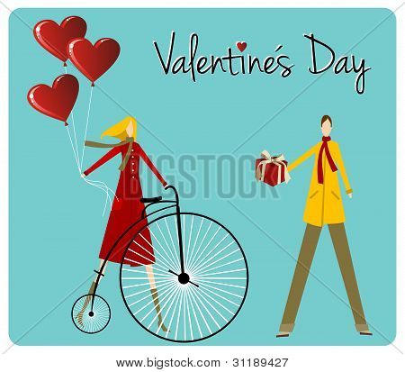 Couple With Retro Bike Valentines Day Greeting Card