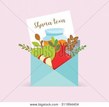 Rosh Hashana Greeting Card With Rosh Hashanah Elements.