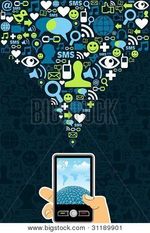 Connexion téléphone cellulaire les médias sociaux