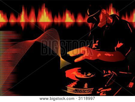 Abstract vector illustration of a club deejay in red poster