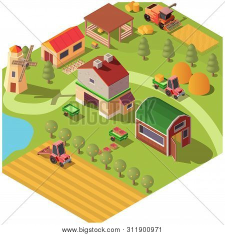 Isometric Farm Or Modern Ranch Yard With Outbuildings, Wind Mill, Fruit Garden And Field Of Grain. C