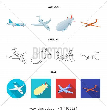 Vector Illustration Of Transport And Object Logo. Set Of Transport And Gliding Vector Icon For Stock