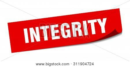 Integrity Sticker. Integrity Square Isolated Sign. Integrity