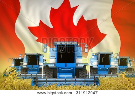 industrial 3D illustration of many blue farming combine harvesters on farm field with Canada flag background - front view, stop starving concept poster