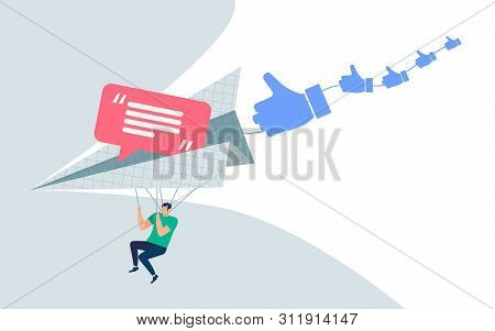 Informative Banner Hotkeys And Messages Cartoon. Flyer Conceptual Idea Person And Attachment To Soci