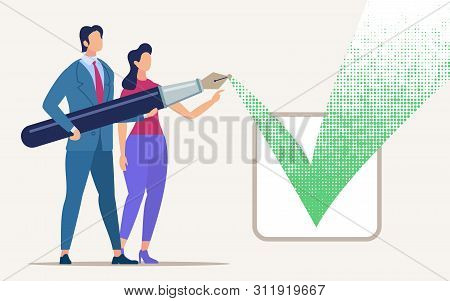 Advertising Banner Coordination Issues Cartoon. Poster Conceptual Idea Agreement And Agreement. Flye
