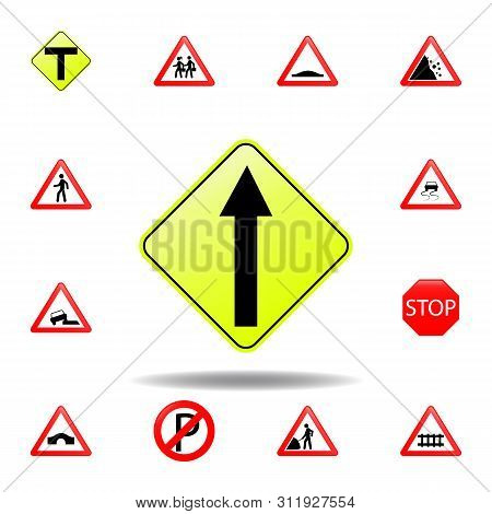 Proceed Straight Icon. Set Of Road Signs Icon For Mobile Concept And Web Apps. Colored Proceed Strai