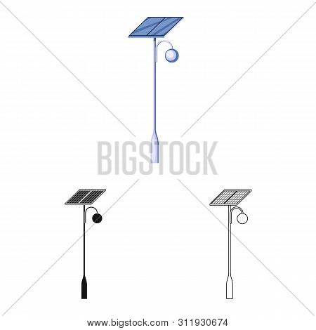 Isolated Object Of Lamppost And Solar Sign. Set Of Lamppost And Alternative Stock Vector Illustratio