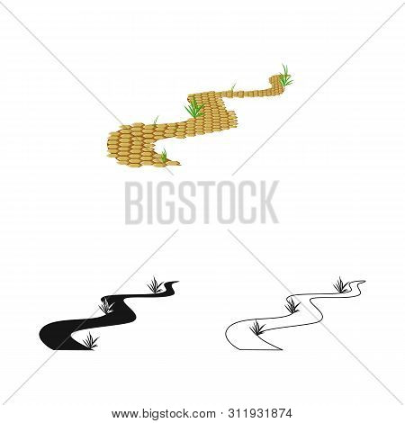 Vector Illustration Of Road And Scenery Logo. Set Of Road And Footpath Vector Icon For Stock.