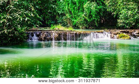 Landscape Waterfall Than Bok Khorani. Colorful Forest In The Rainy Season,colorful Forest In The Rai