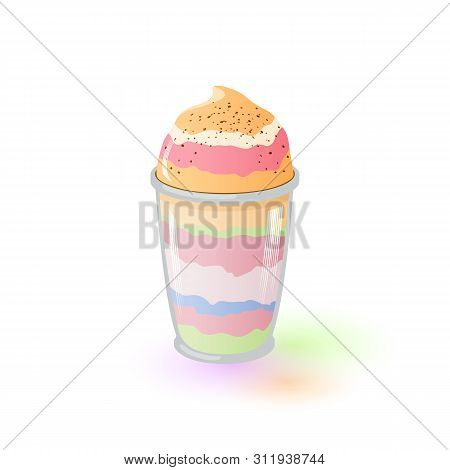 Multicolor Appetizing Parfait In Glass. Fruit And Berry Dessert. Frozen Yogurt. Banana, Pistachio, S