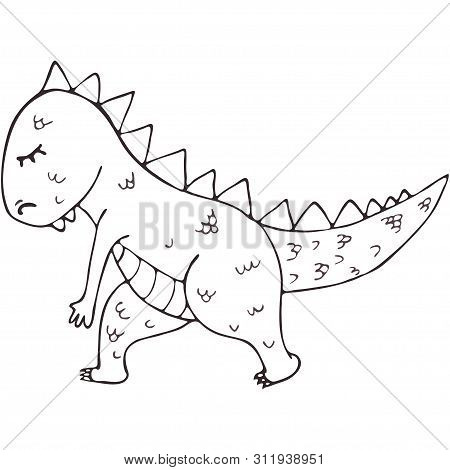 Cartoon Dinosaur In Yoga Asana For Healthy Lifestyle Design. Funny Dino Collection. Healthy Lifestyl