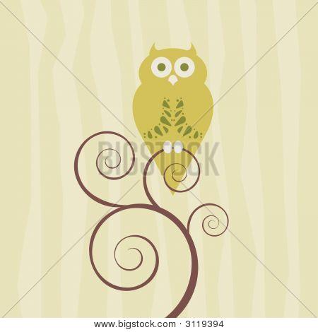 Retro Style Owl On Single Vine