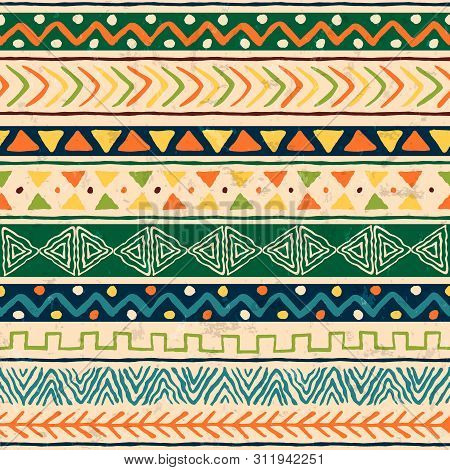 African Art Seamless Pattern Illustration With Colorful Tribal Decoration. Wild Boho Background Desi