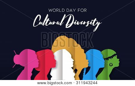 Cultural Diversity Day Illustration Of Diverse Ethnic Women Head Silhouette In Paper Cut Style.