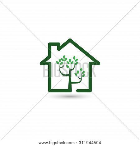 Green House Logo, Tree House Logo,house Logo, Green House Icon, Green House Icon Vector Isolated On