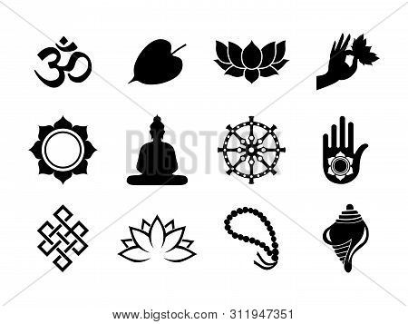 Vesak Day Celebration Icon Set. Black Color Symbol Collection On Isolated Background. Includes Buddh
