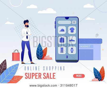 Banner Is Written Online Shopping Super Sale. Screen, Go To Application For Purchase Online Store. M