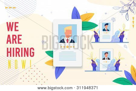 Banner Inscription We Are Hiring Now Cartoon. Poster Criteria For Evaluating Job Seekers. Flyer Suit