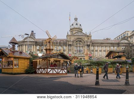 Birmingham, Uk, November 2018 - Wooden Stalls Of The German Xmas Market In Victoria Square, Birmingh