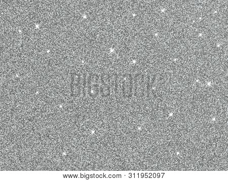 Silver Glitter Texture Background. Vector Silver Confetti Sparkles Shine On Glittery Glow Background