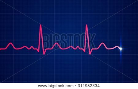 Heart Beat Pulse Electrocardiogram On Blue Cardio Chart Monitor Background. Vector Healthcare Cardio
