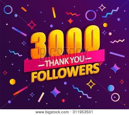 Thank You 3000 Followers, Thanks Banner.first 3k Follower Congratulation Card With Geometric Figures