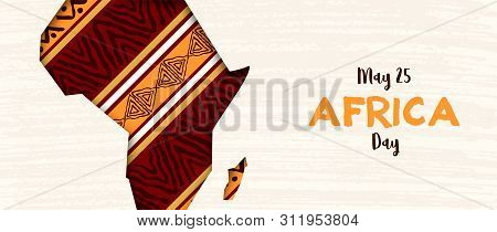 Africa Day banner illustration for 25 may celebration. African continent papercut map with traditional tribal art decoration. poster
