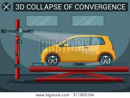 3d Collapse Of Convergence. Yellow Car On Overpass. Service Station. Auto Service. Automobile Lift.