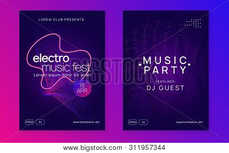 Gradient Party Flyer. Minimal Concert Banner Set. Dynamic Fluid Shape And Line. Gradient Party Flyer