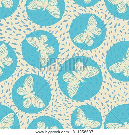 Modern Hand Drawn Butterflies And Blue Transparent Circles. Seamless Vector Pattern On Busy Blue And