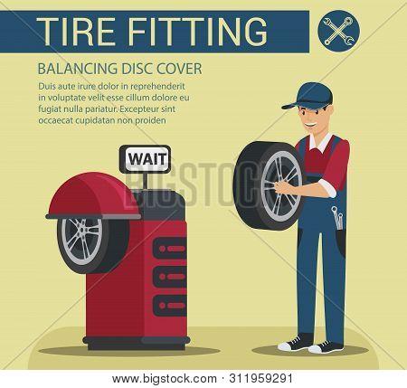 Service Station. Auto Service. Worker Wheel Repair. Mechanic In Service Station. Car Maintenance. Ve