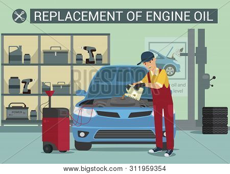 Replasement Of Ingine Oil. Car Service Worker. Oil Change. Service Station. Service. Man In Red Unif