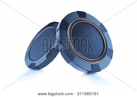 Casino Chips, Isolated On White. Casino Game 3d Blue Chips. Online Casino Banner. Black Realistic Ch
