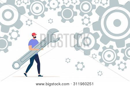 Informative Poster Working With Wrench Cartoon. Trendy Banner Conceptual Idea People Man Solve Quest