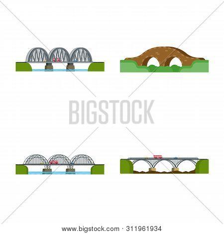 Vector Design Of Bridgework And Bridge Symbol. Collection Of Bridgework And Landmark Stock Symbol Fo