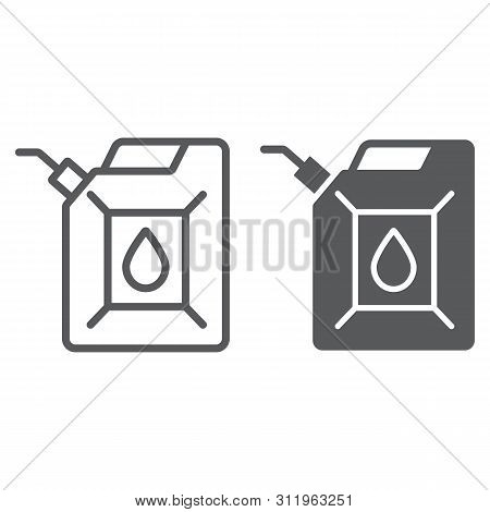Jerrycan Line And Glyph Icon, Canister And Container, Fuel Tank Sign, Vector Graphics, A Linear Patt