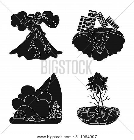 Isolated Object Of Calamity And Crash Sign. Collection Of Calamity And Disaster Stock Vector Illustr