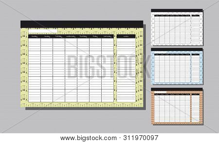 Planner Template For Whole Year. Set Wall Calendar Endless. Seven Weekly Columns. Bright Background