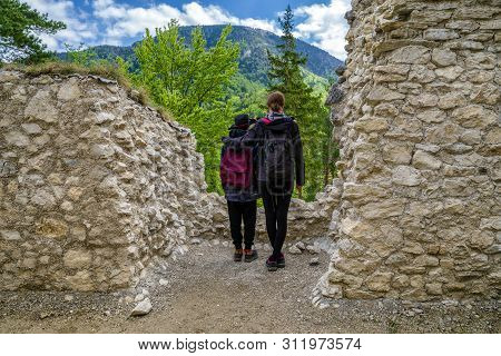 Visitors Looking From Blatnica Castle At Slovakia