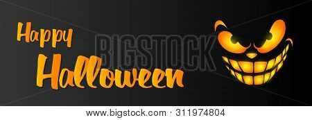 Happy Halloween Greeting Card Design With Ominous Smile On Black Background. Halloween Greeting Card