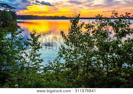 Sunset Over Ocean Inlet With Vegetation In Foreground On Mount Desert Island Near Acadia National Pa