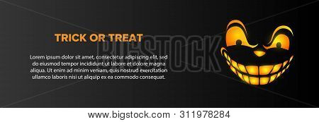 Trick Or Treat Text With Sneering Face On Black Background. Halloween Concept. Vector Illustration C